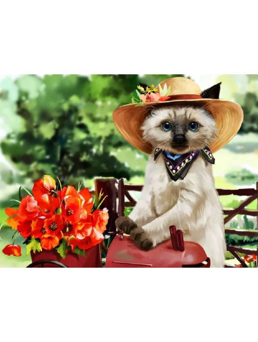 Алмазная мозаика на подрамнике «Кот цветочник»
