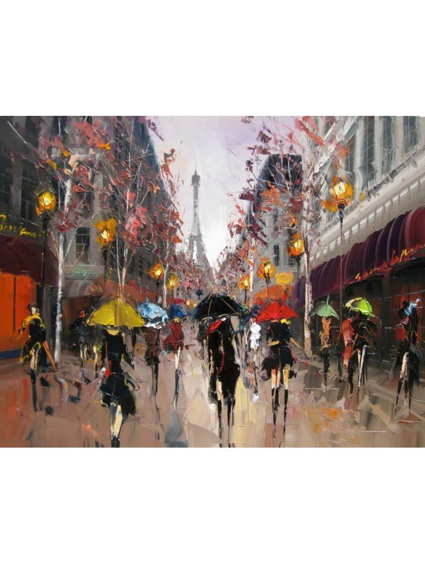 Алмазная мозаика на подрамнике «Парижский дождь»