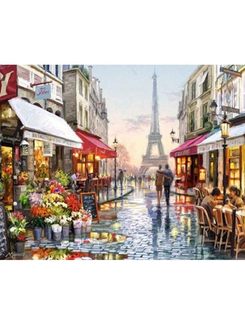 Алмазная мозаика на подрамнике «Прогулка под дождём»