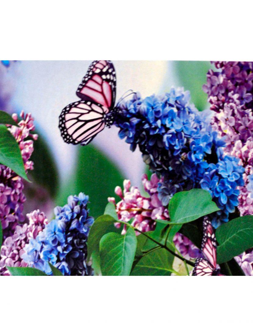 Алмазная мозаика на подрамнике «Бабочка на цветке сирени»