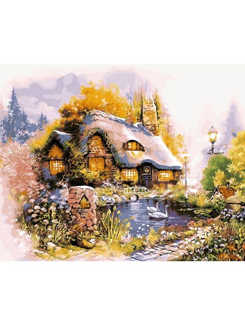 Алмазная мозаика на подрамнике «Сказочный домик»