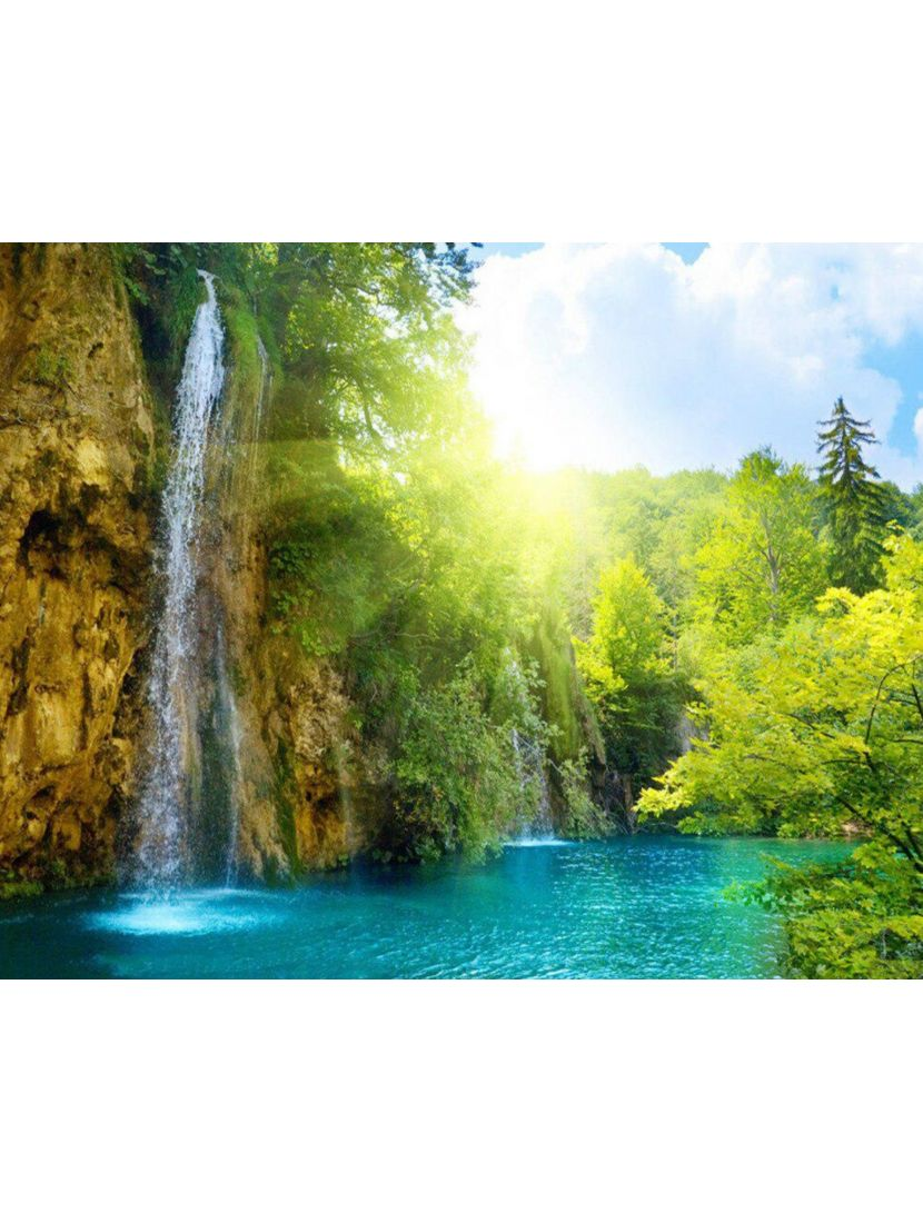 Алмазная мозаика на подрамнике «Водопад и солнце»
