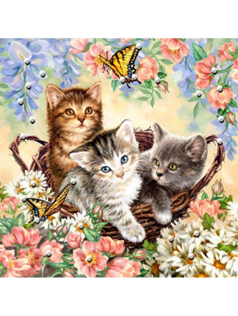 Картина по номерам  на подрамнике «Корзина с котятами»