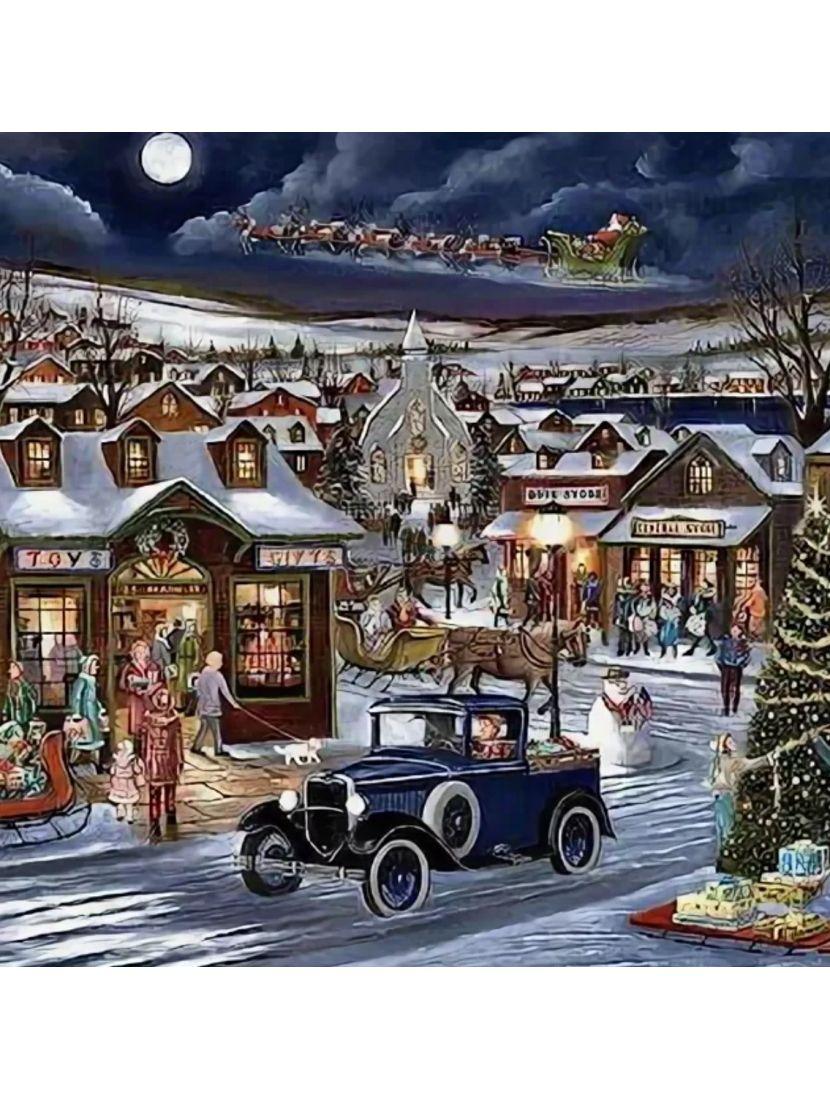 Картина по номерам  на подрамнике «Рождественский город»