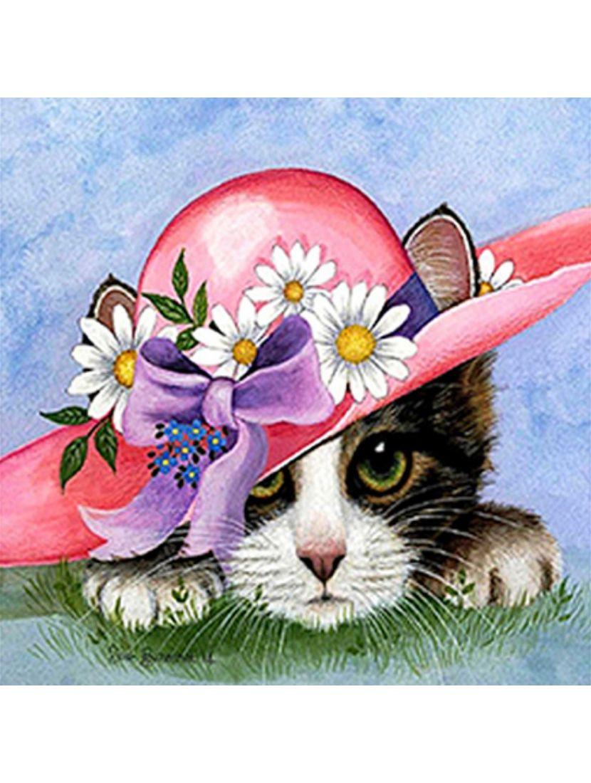 Алмазная мозаика на подрамнике «Котёнок в шляпе»