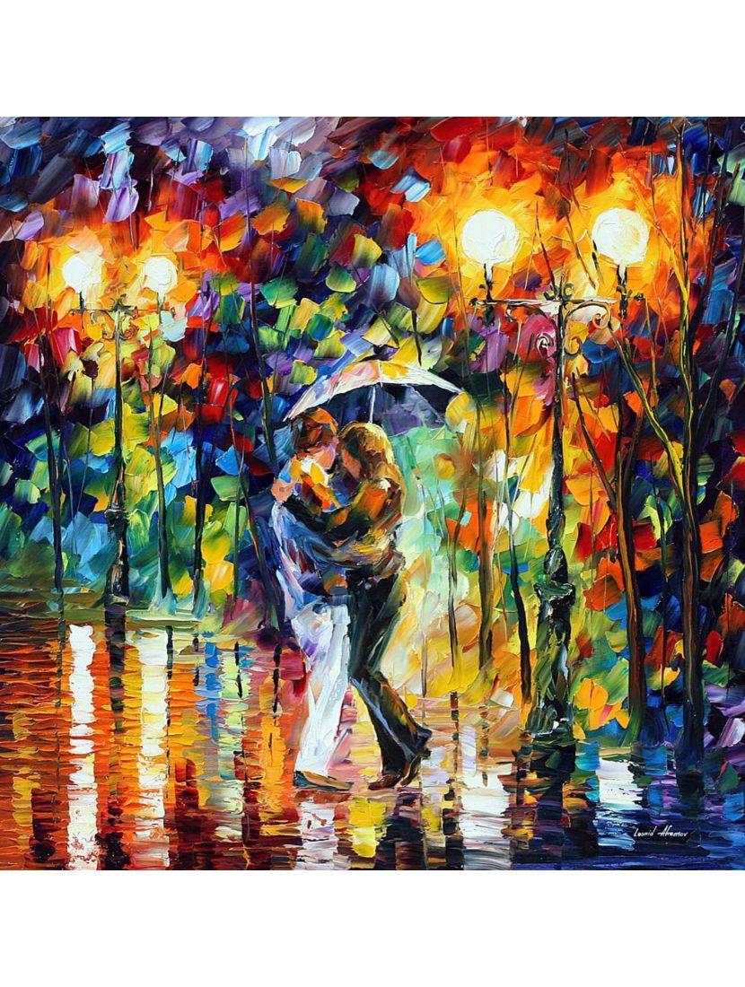 Картина по номерам  на подрамнике «Любовь, дождь и осень»