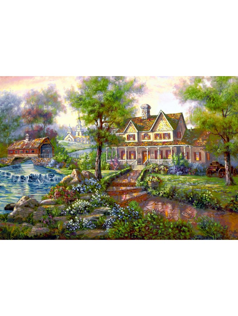 Картина по номерам  на подрамнике «Усадьба у реки»