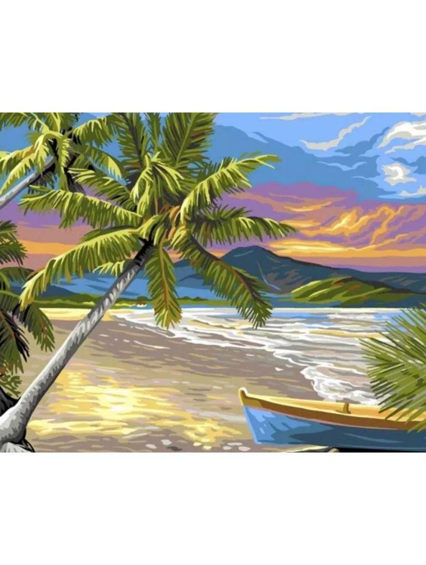 Картина по номерам  на подрамнике «Прибытие на остров»