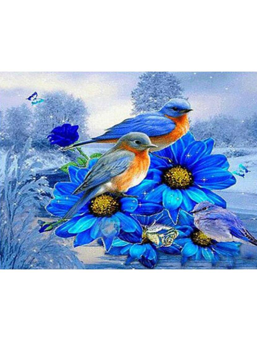 Картина по номерам  на подрамнике «Синие птицы, синие цветы»