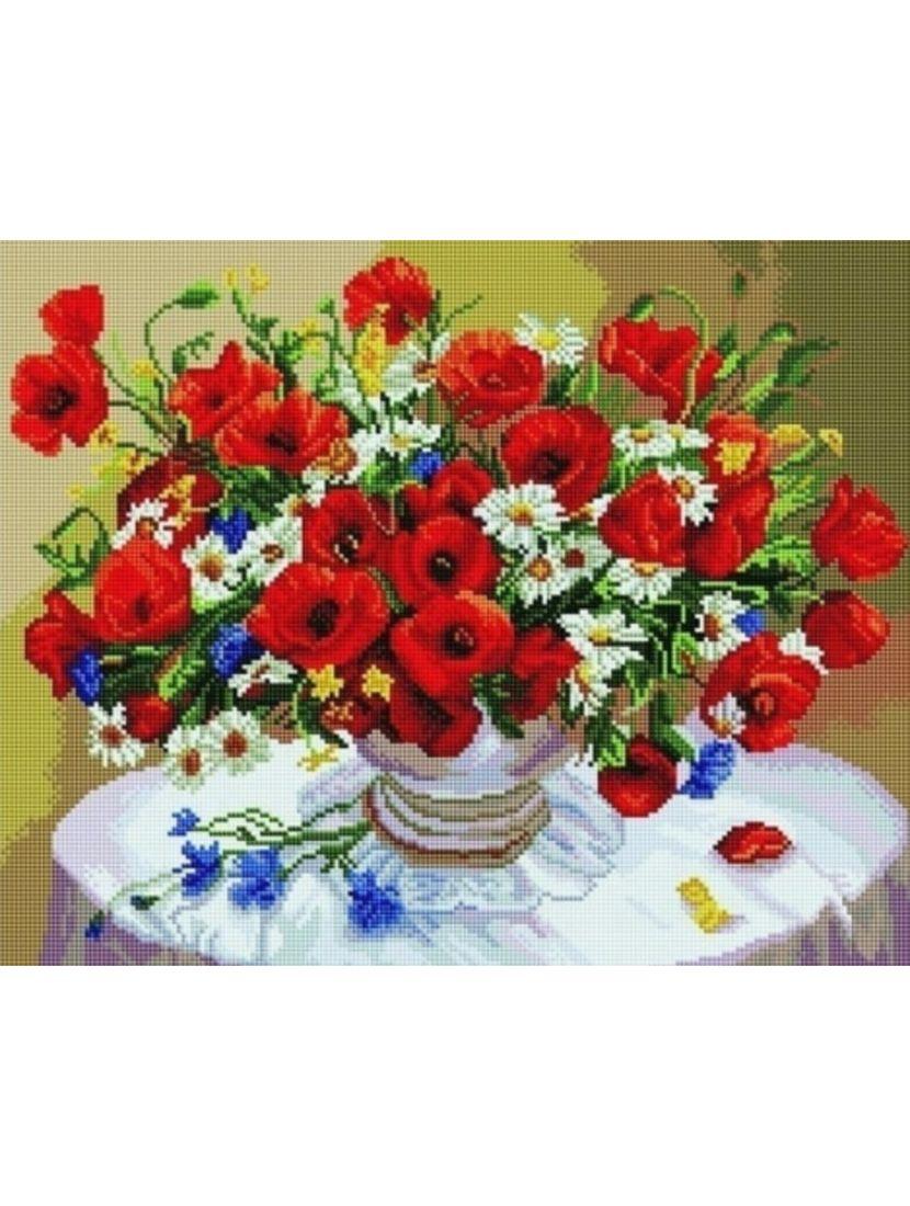 Алмазная мозаика на подрамнике «Розы, васильки и ромашки»