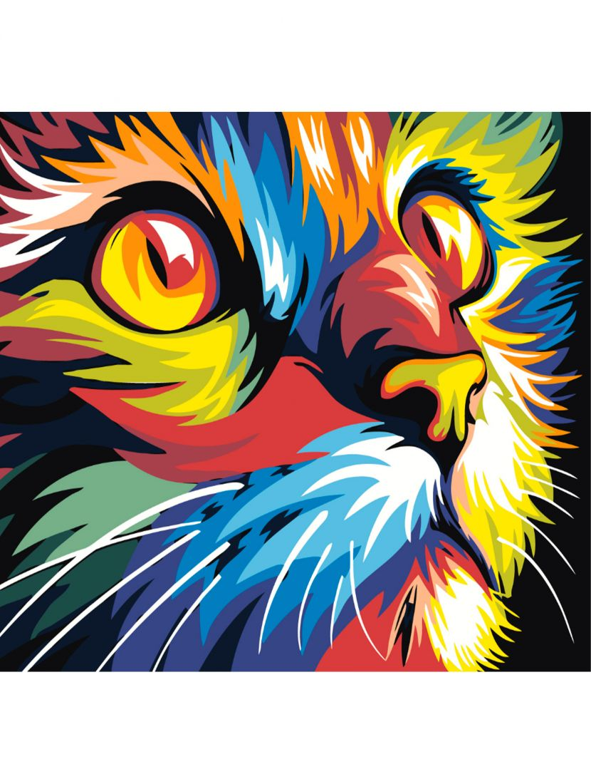 Картина по номерам  на подрамнике «Радужный кот»