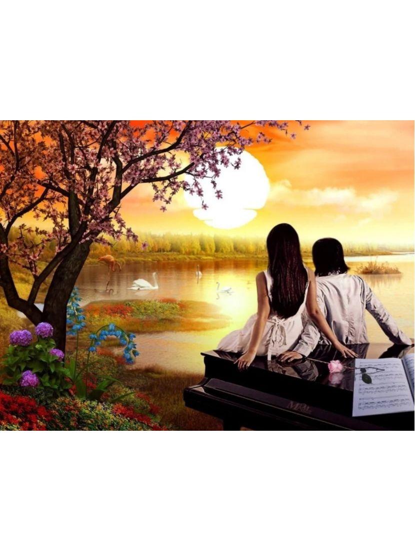 Картина по номерам  на подрамнике «Лебединое озеро»