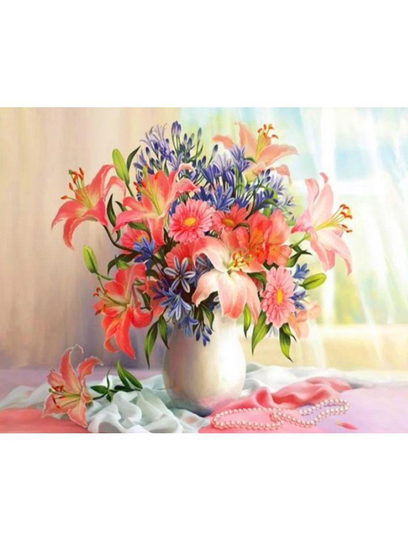 Алмазная мозаика на подрамнике «Красота цветов и шёлка»
