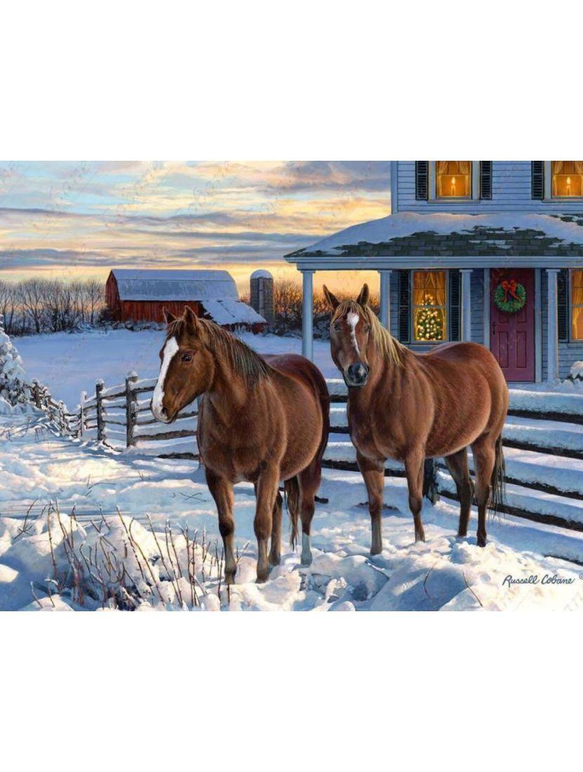 Картина по номерам  на подрамнике «Кони у крыльца»