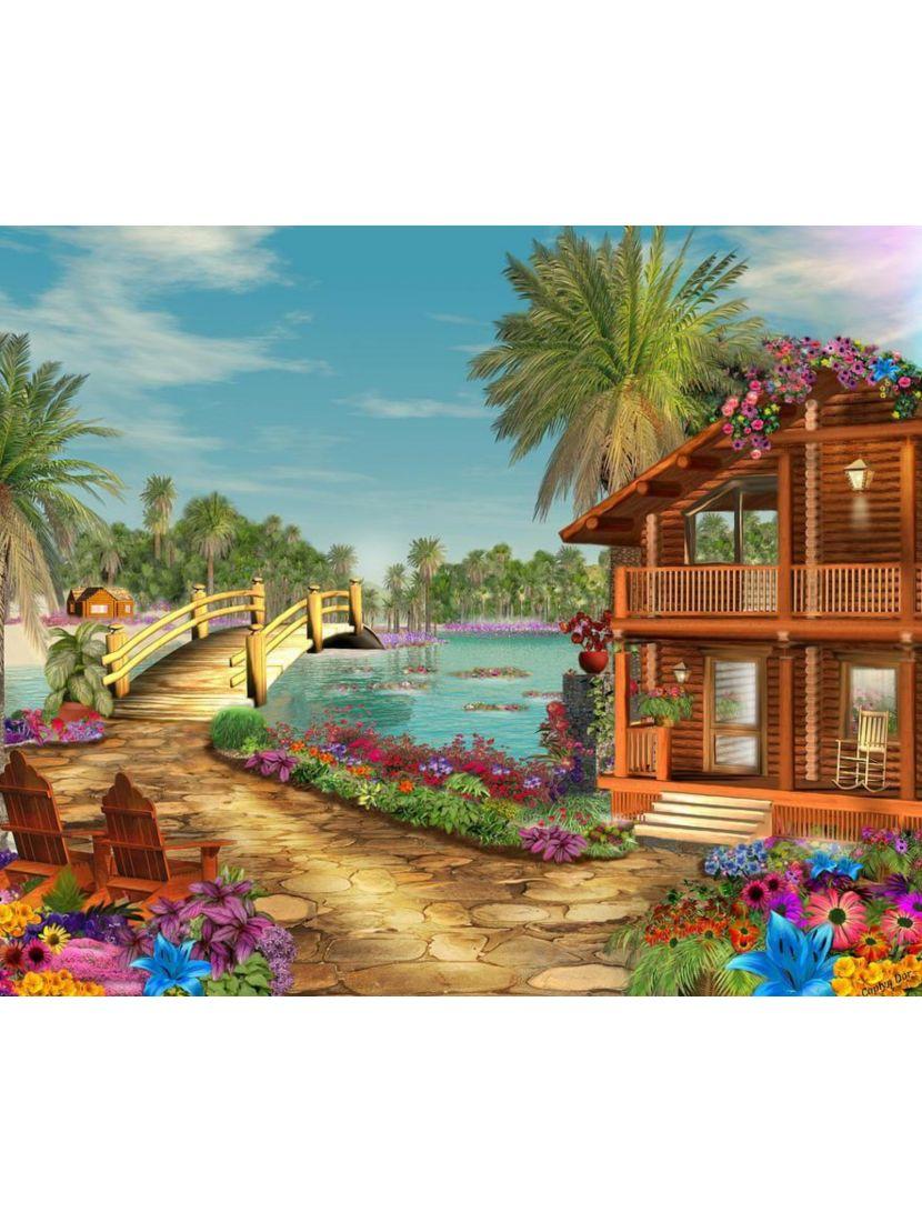 Картина по номерам  на подрамнике «Тропический городок»