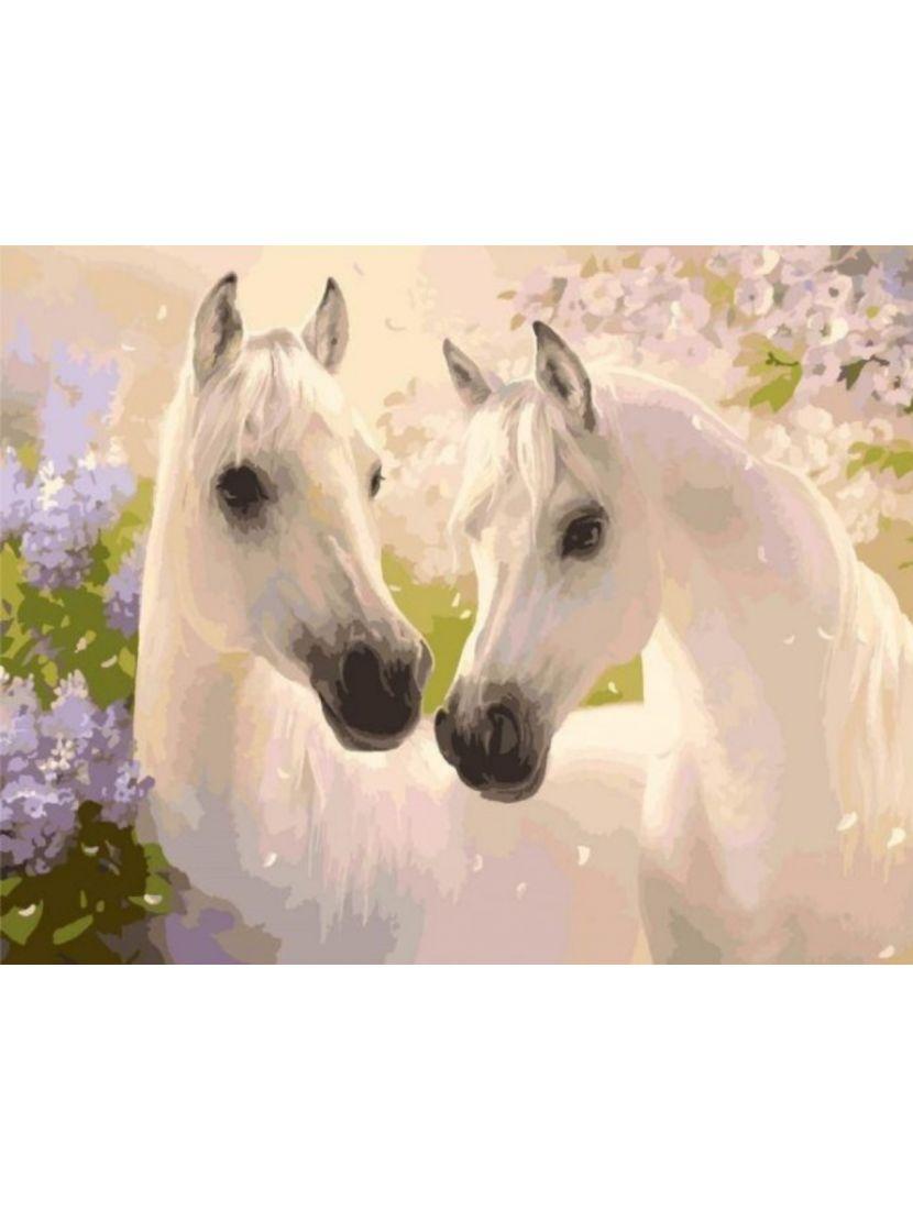 Картина по номерам  на подрамнике «Белые лошади»