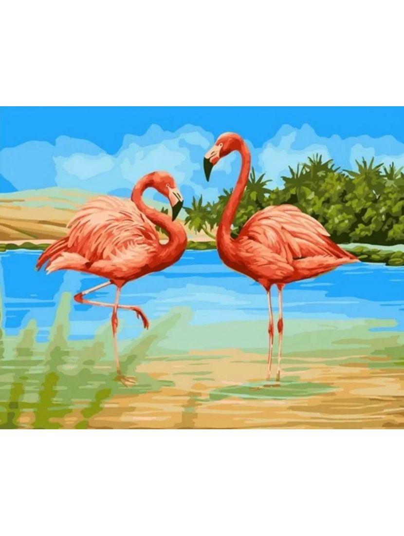 Картина по номерам  на подрамнике «Пара фламинго»