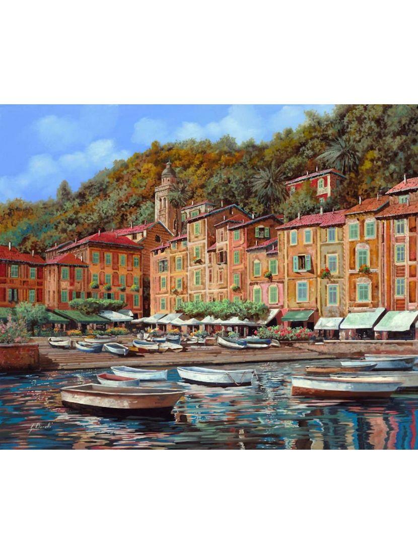 Картина по номерам  на подрамнике «Побережье Портофино»