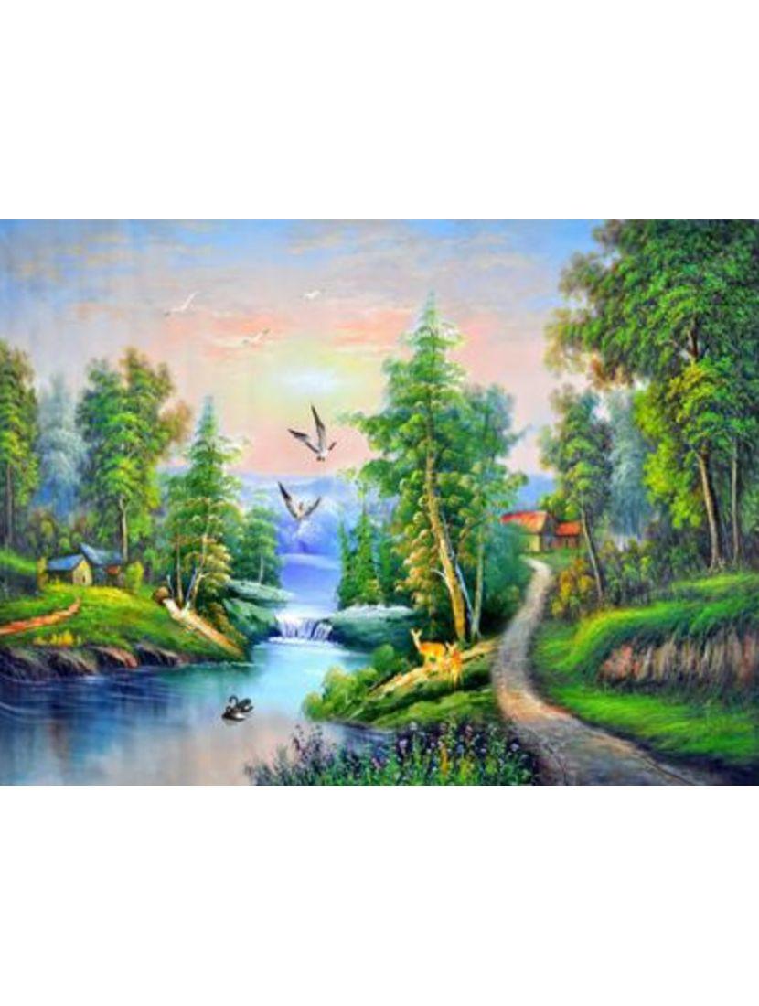 Алмазная мозаика на подрамнике «Край рек, лесов и гор»