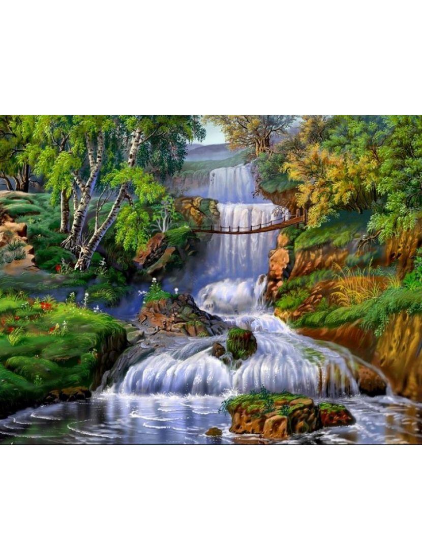 Алмазная мозаика «Горный лес и водопад»