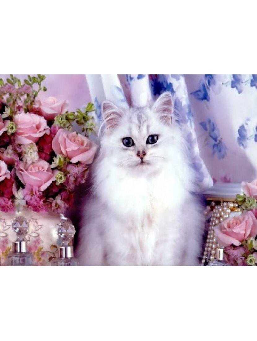 Алмазная мозаика «Кошка и розы»