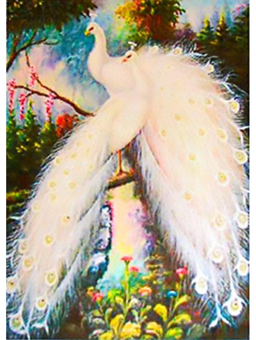 Алмазная мозаика «Белые павлины»