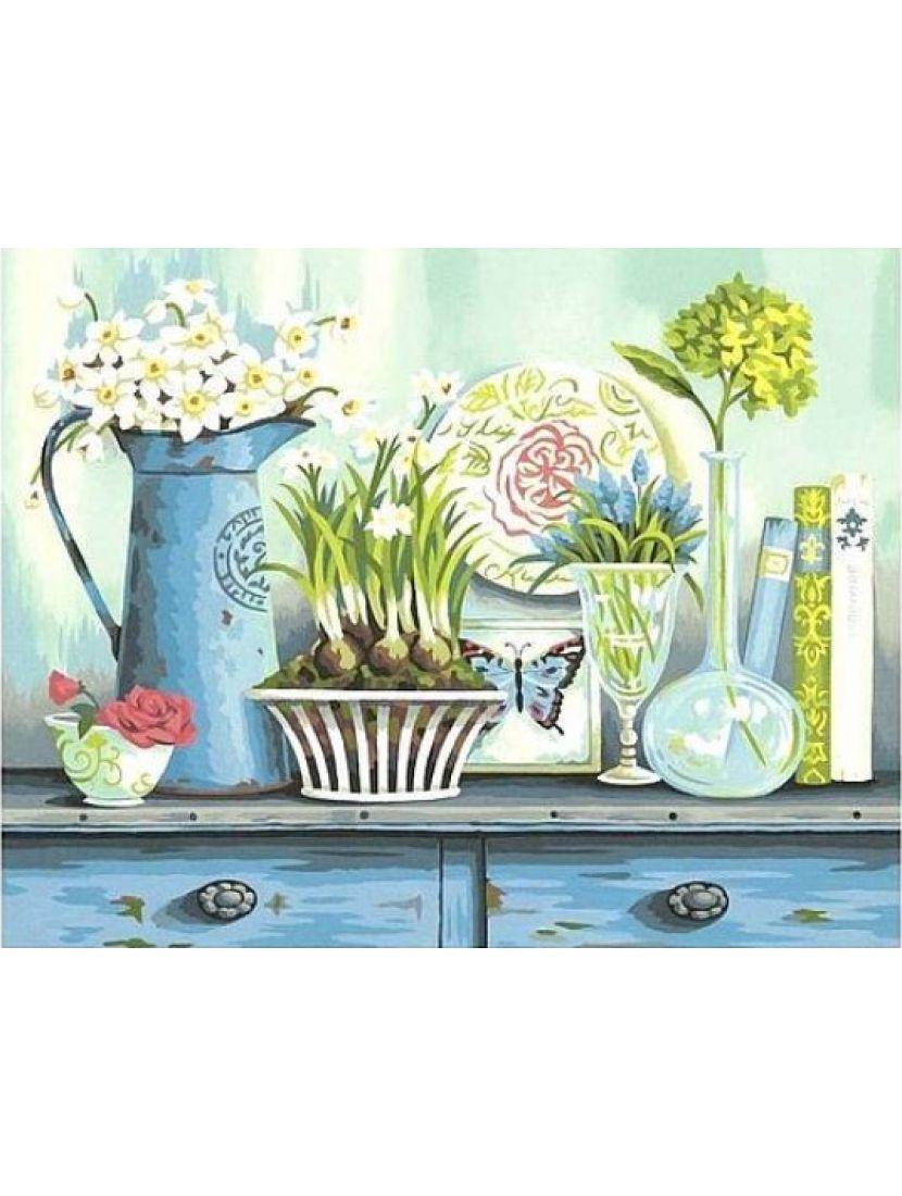 Алмазная мозаика «Цветочный столик»