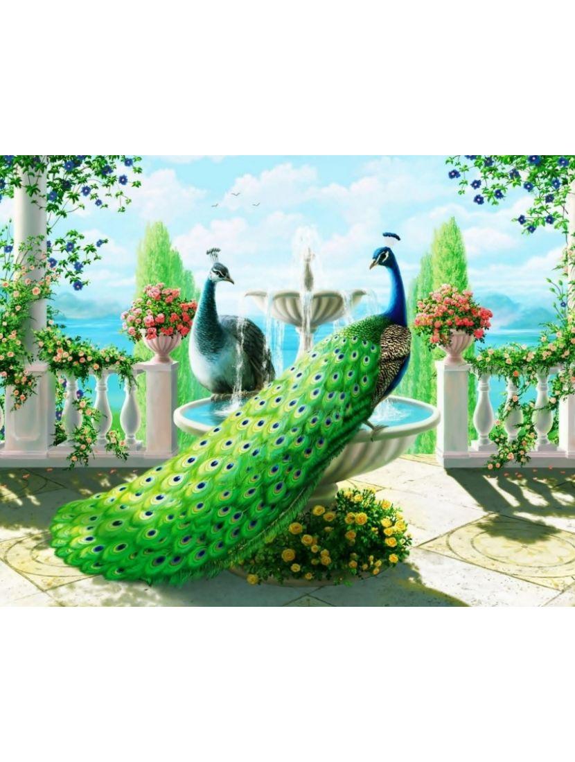 Алмазная мозаика «Парк с павлинами»