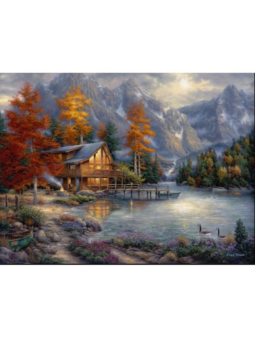 Алмазная мозаика «Домик у горного озера»