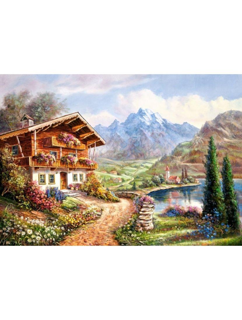 Алмазная мозаика «Домик в горах»