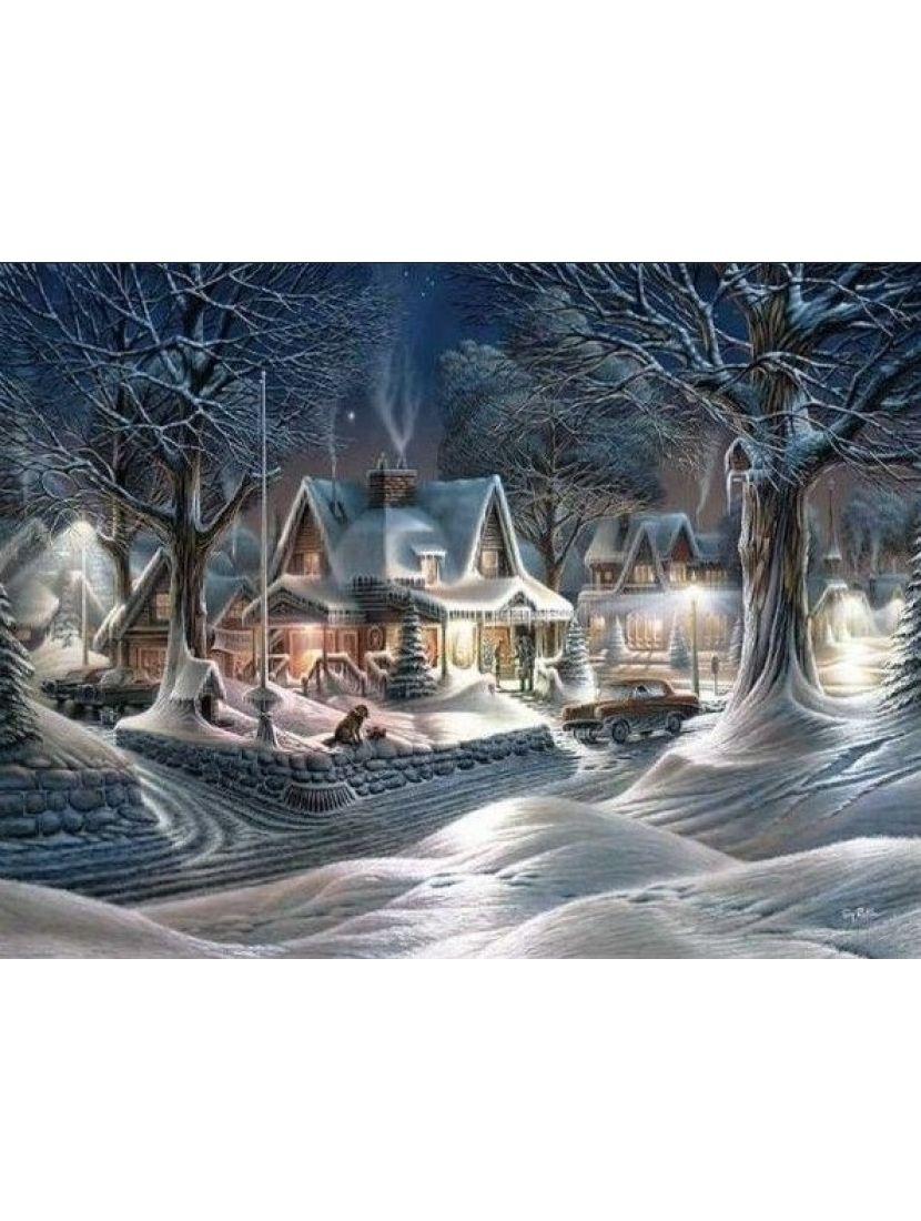 Алмазная мозаика «Зимний городок»