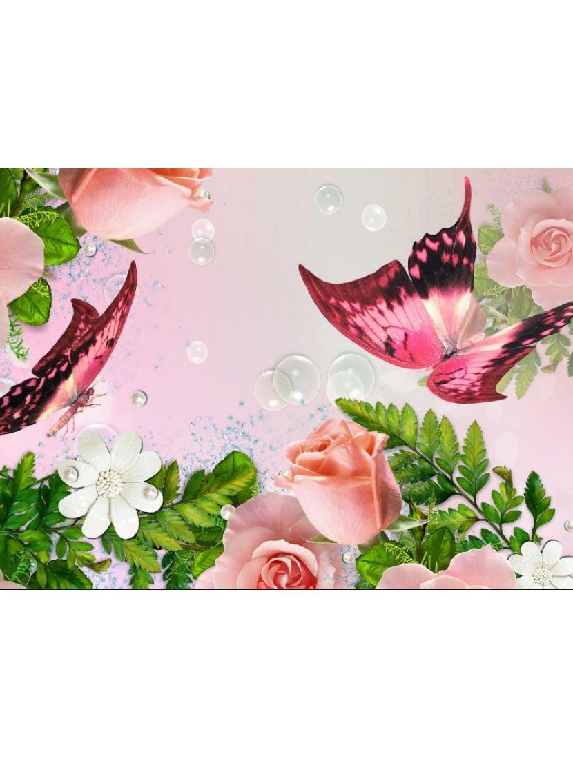 Алмазная мозаика «Розы и бабочки»