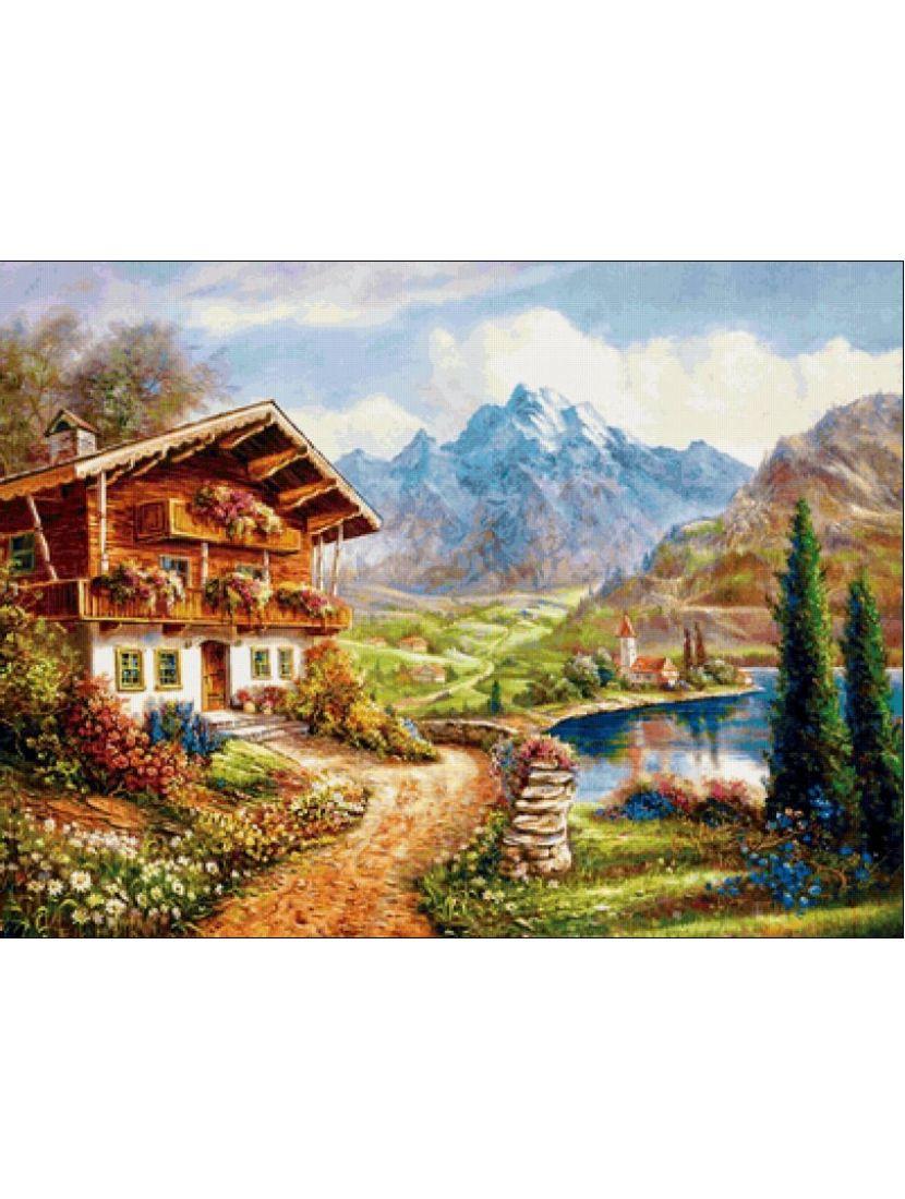 Алмазная мозаика «Домик у горной дороги»