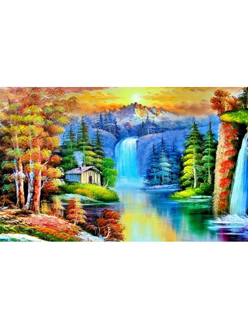 Алмазная мозаика «Хижина у водопада»