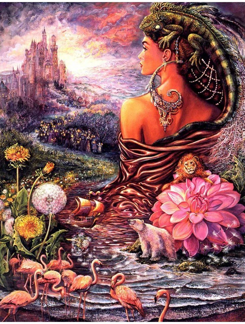 Алмазная мозаика и рисование по номерам «Владычица трав и зверей» 2в1
