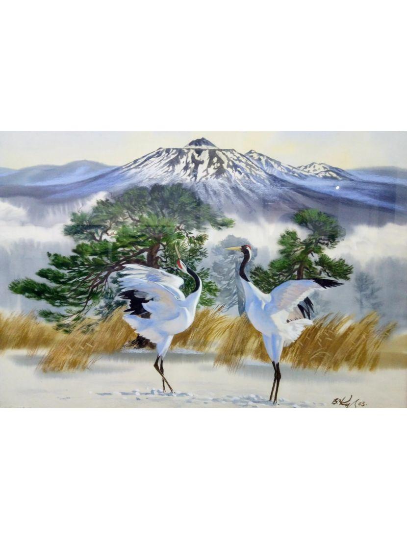 Алмазная мозаика и рисование по номерам «Танец журавлей» 2в1