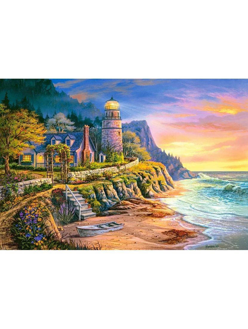 Алмазная мозаика и рисование по номерам «Вечер на берегу» 2в1