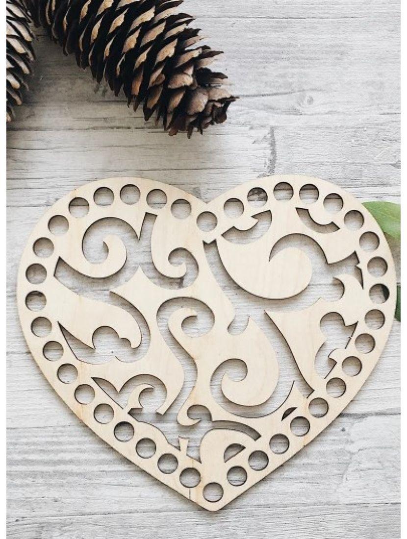 Донышко для вязания «Ажурное сердце» деревянное, резное 17x14 см