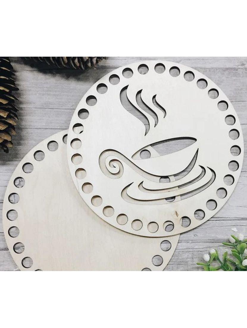 Донышко и резная крышка для вязания «Горячая чашка» деревянные в наборе, 15 см