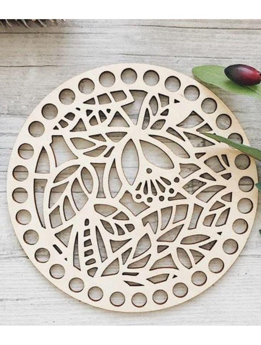 Донышко для вязания «Листики» деревянное, резное 15 см