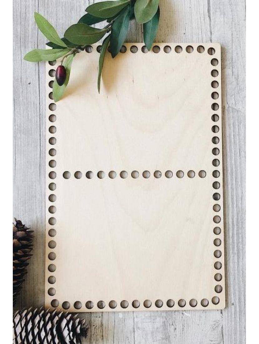 Донышко для вязания  «Прямоугольник» на две секции, деревянное 30*20 см