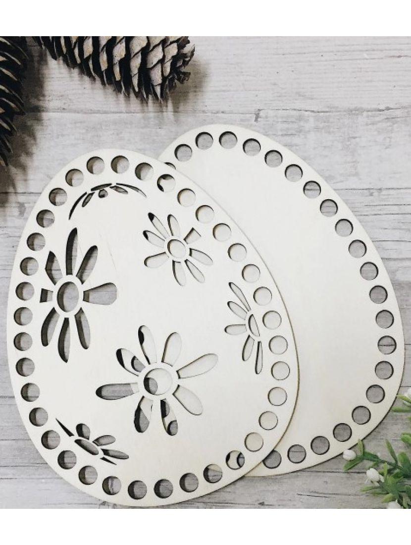 Донышко и резная крышка для вязания «Пасхальное яйцо» деревянные в наборе, 17*13 см