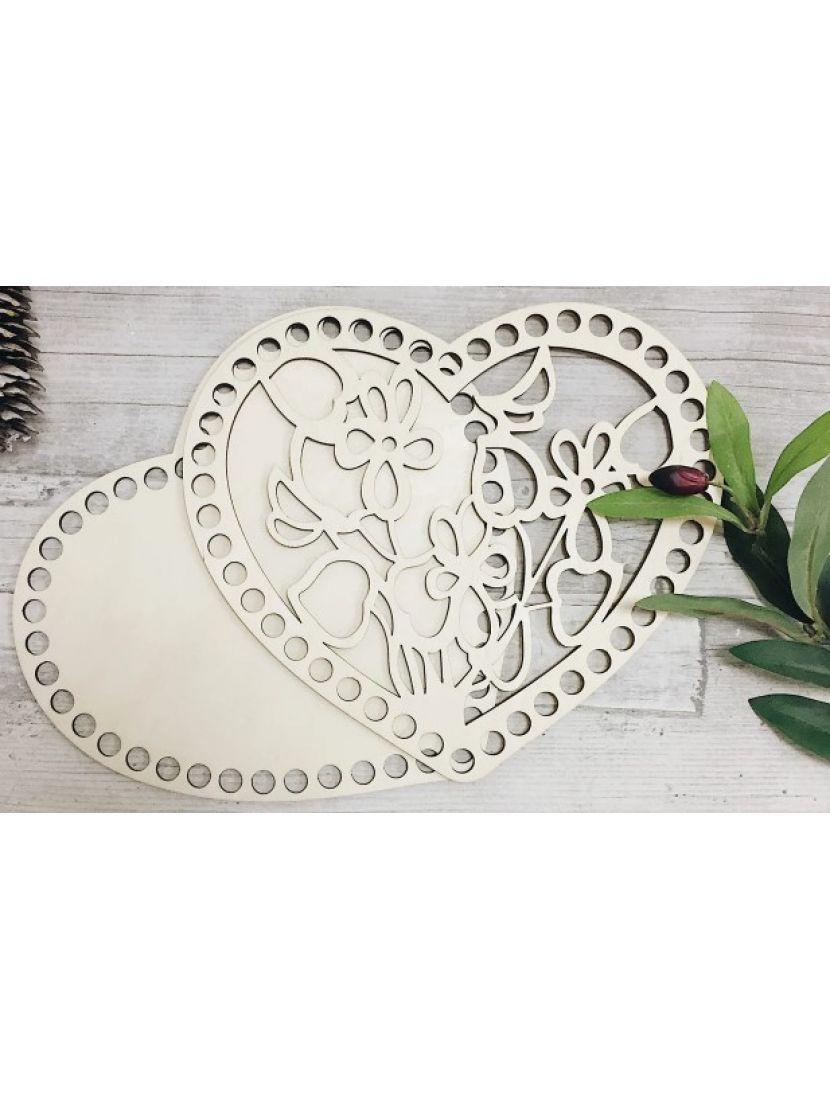 Донышко и резная крышка для вязания «Сердце с цветами» деревянные в наборе, 21*18 см
