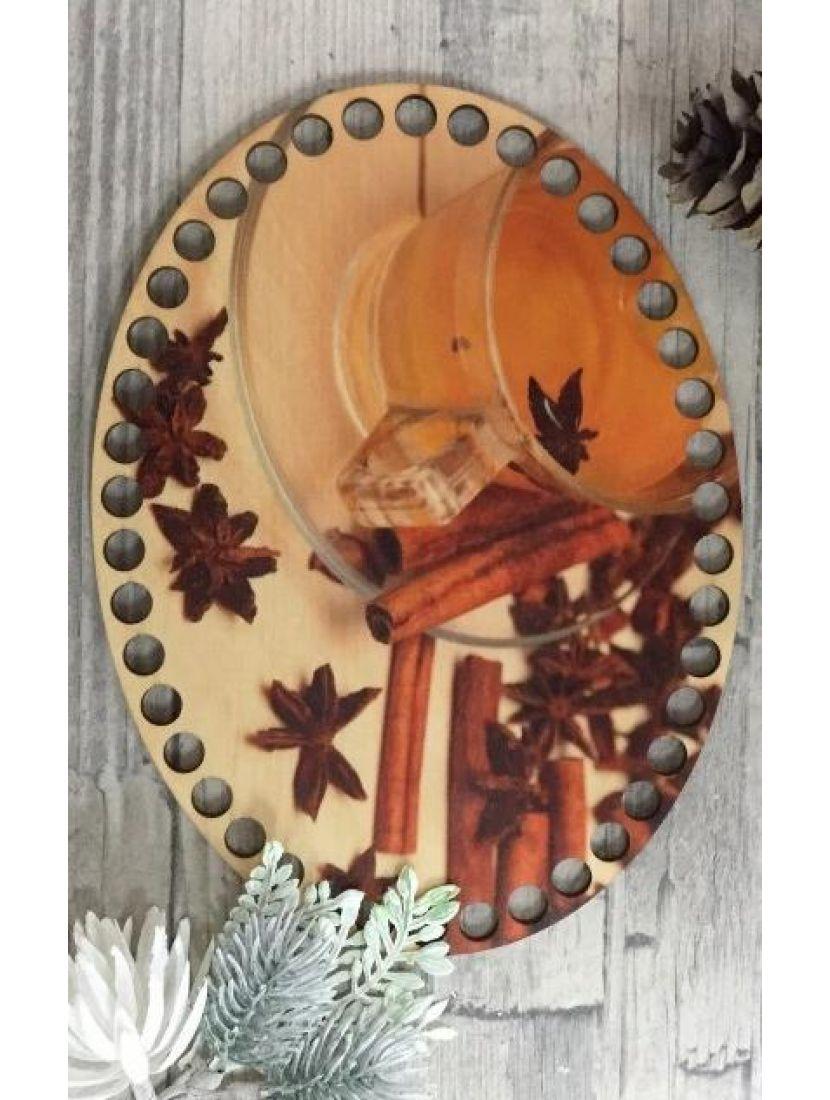 Донышко для вязания «Чай с корицей» деревянное с рисунком, 20*15 см