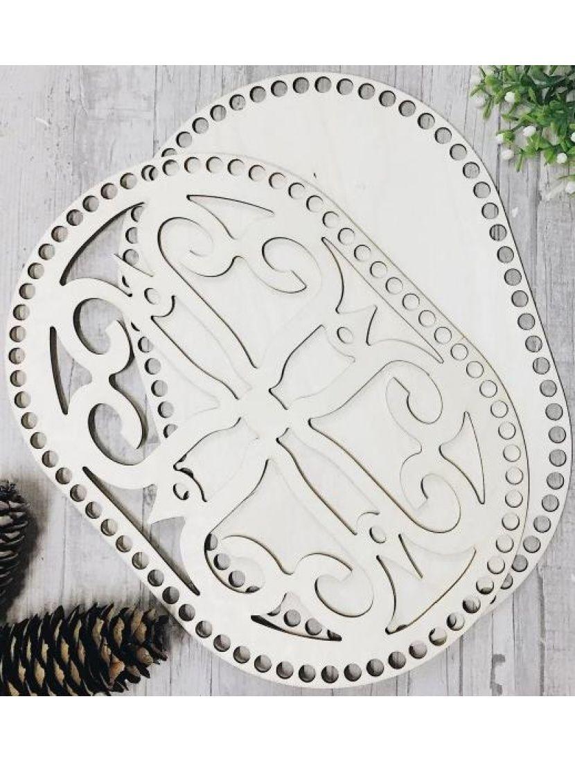 Донышко и резная крышка для вязания «Крестоцвет» деревянные в наборе, 30*20 см