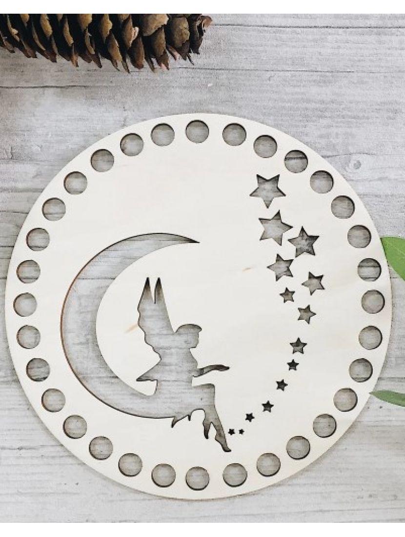 Донышко для вязания «Лунная фея» деревянное, резное 15 см
