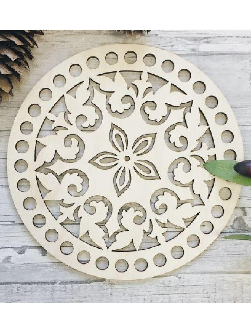 Донышко для вязания «Малый цветок» деревянное, резное 15 см