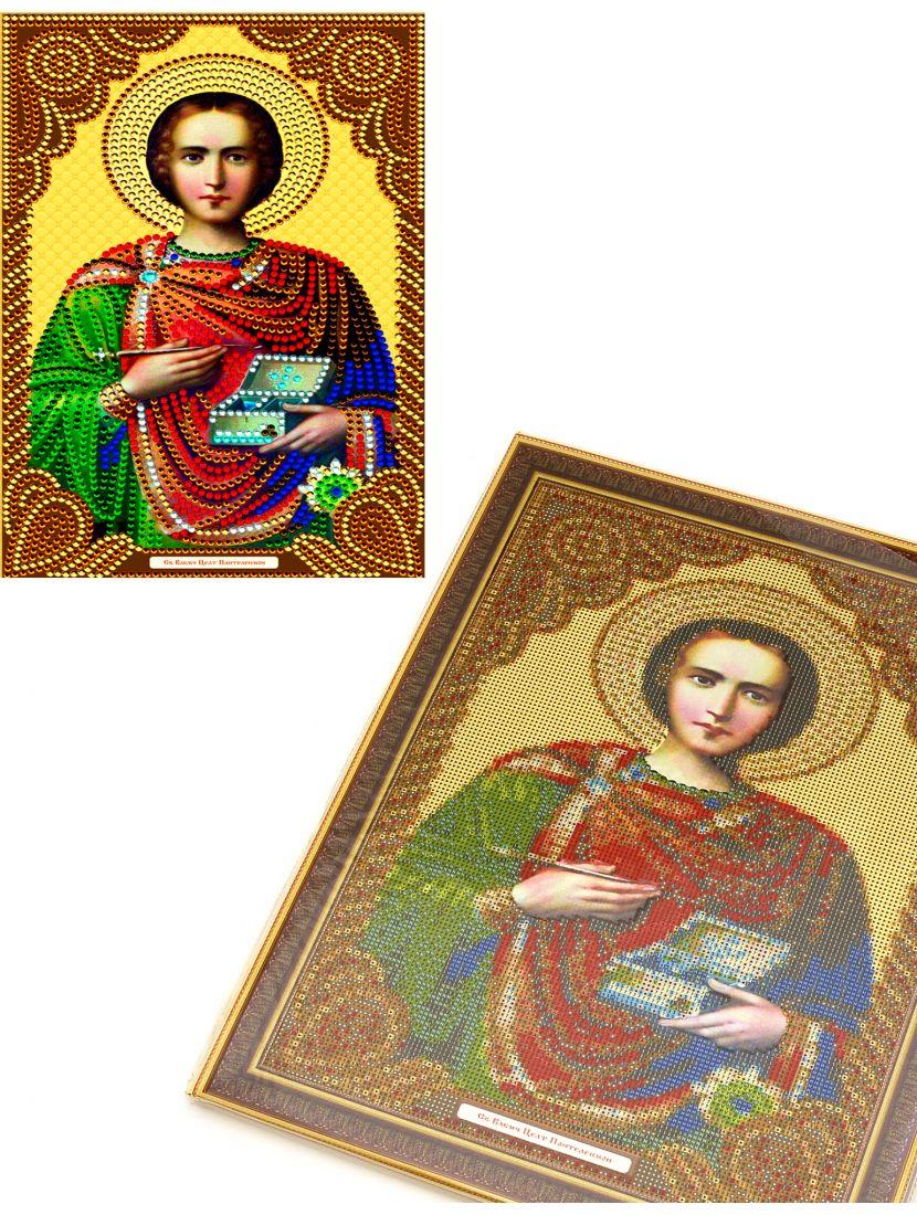 Алмазная мозаика на подрамнике «Святой Пантелеймон Целитель» икона
