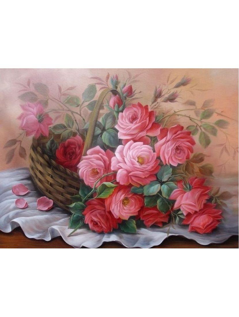 Алмазная мозаика «Корзина с розами»