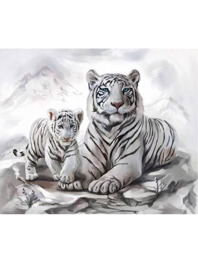 Алмазная мозаика «Тигрица и тигрёнок»